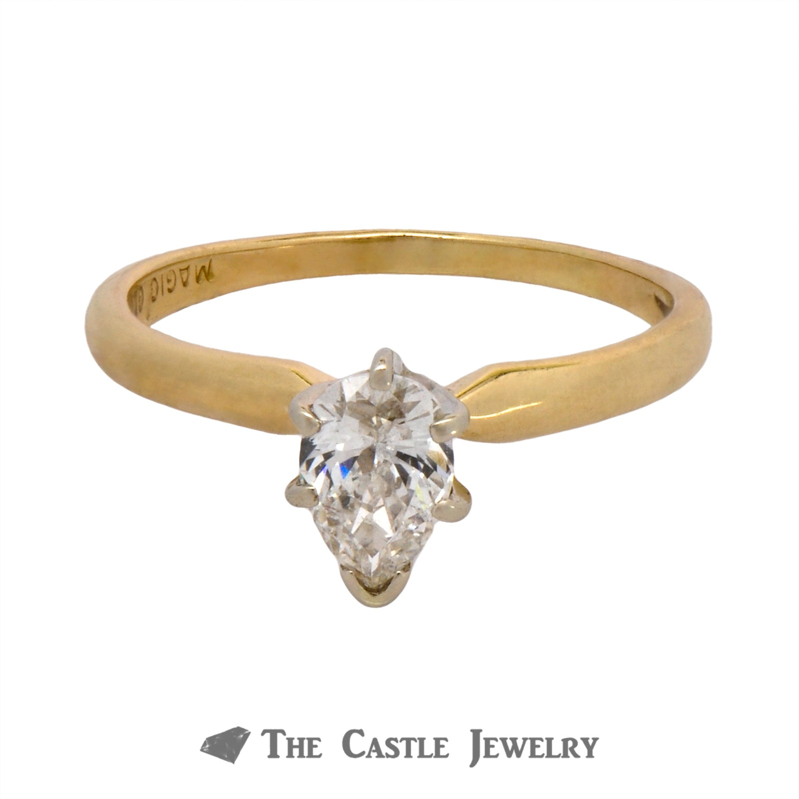 Solitaire Pear Diamond Engagement Ring in 6 Prong Tiffany Mounting