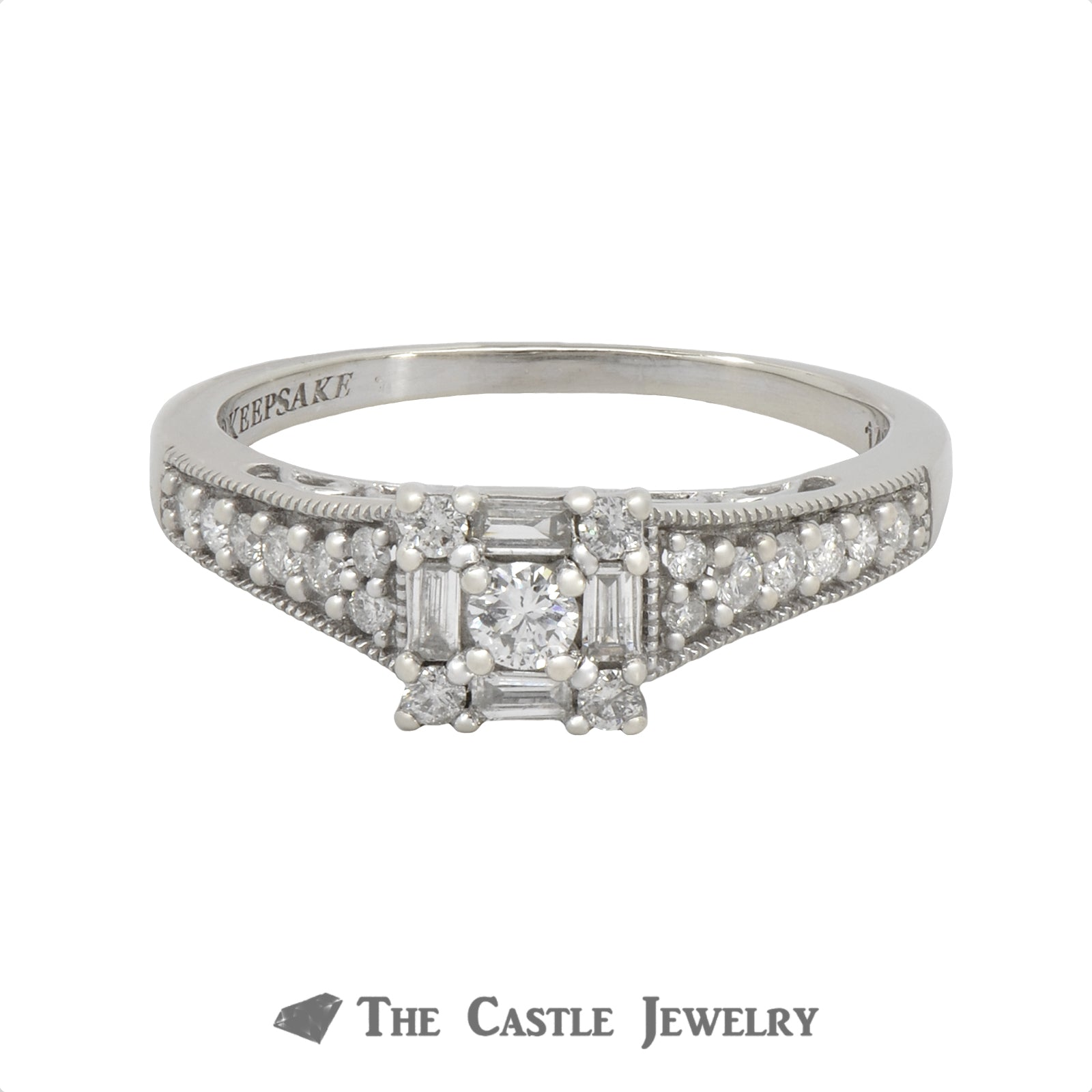 Square Shaped Diamond Engagement Ring .50cttw In 14K White Gold