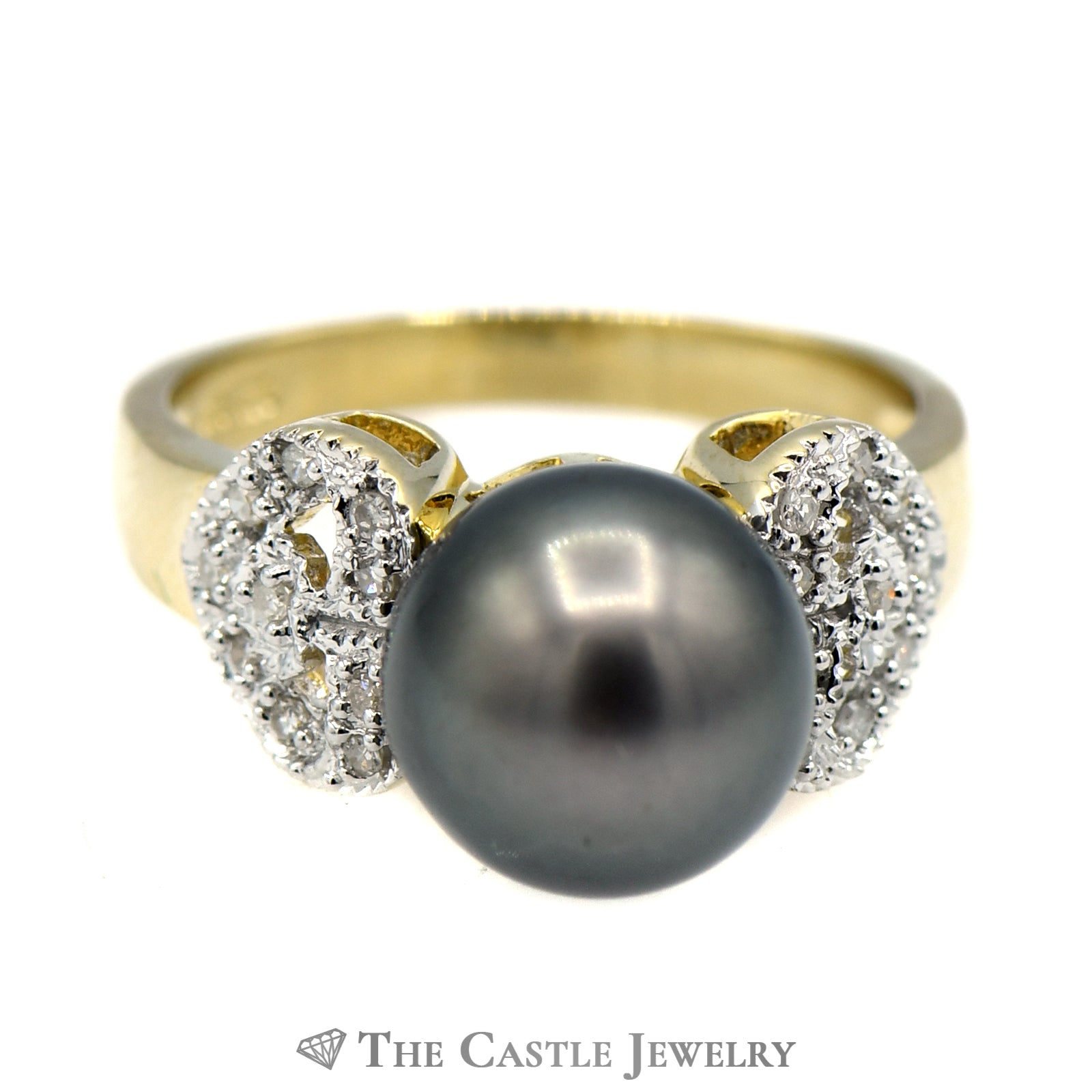 Black Pearl Ring with Diamond Encrusted Heart Sides
