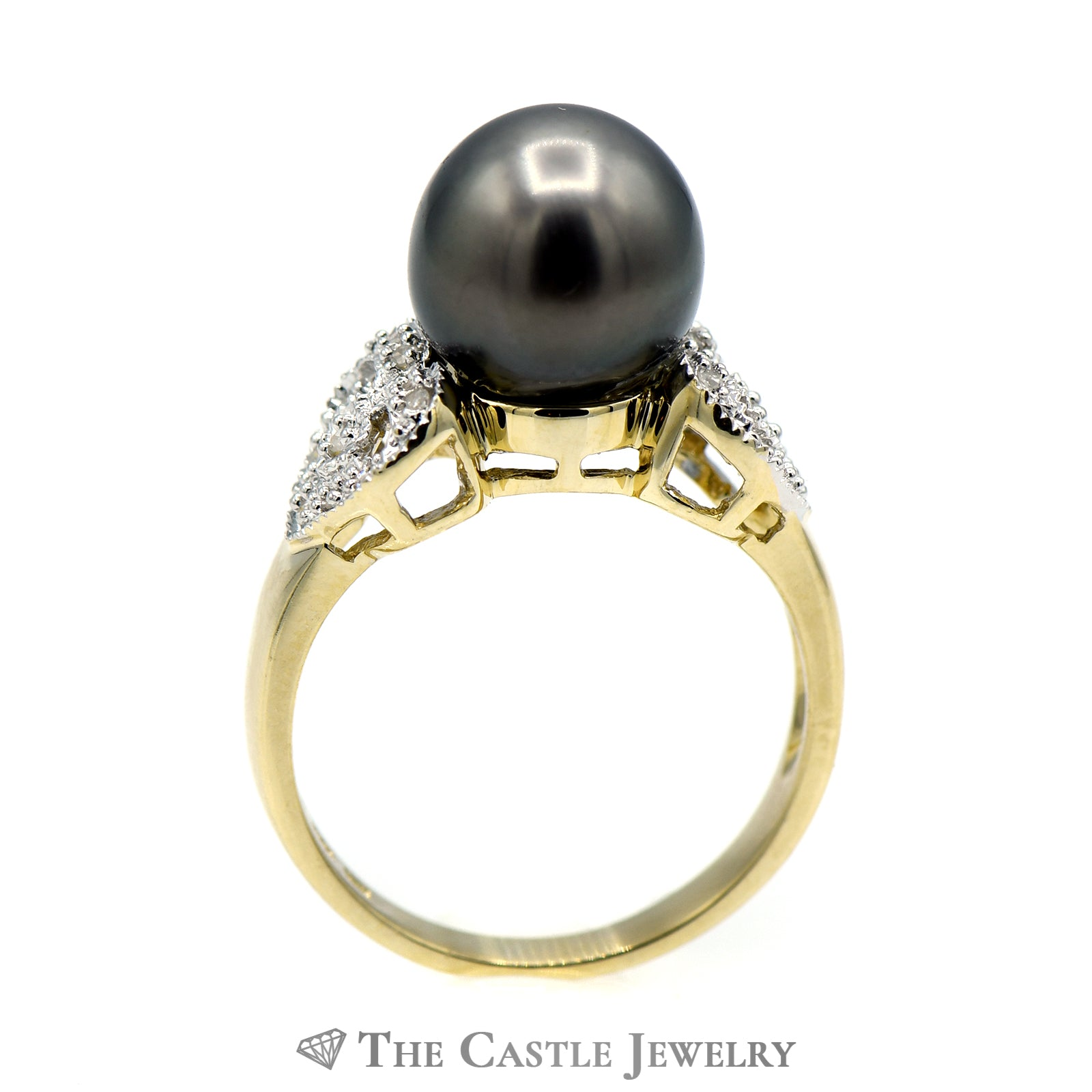 Black Pearl Ring with Diamond Encrusted Heart Sides-1