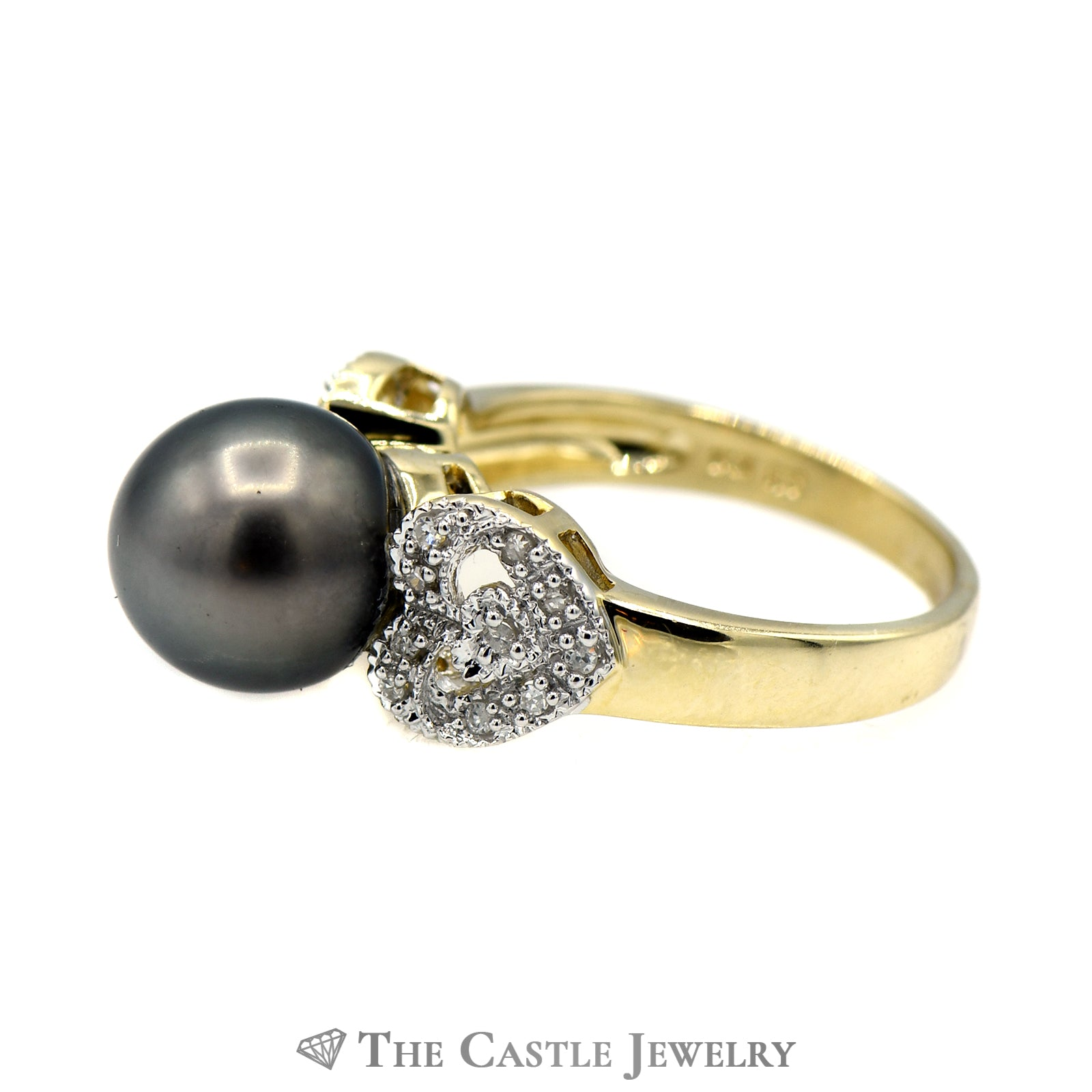 Black Pearl Ring with Diamond Encrusted Heart Sides-2