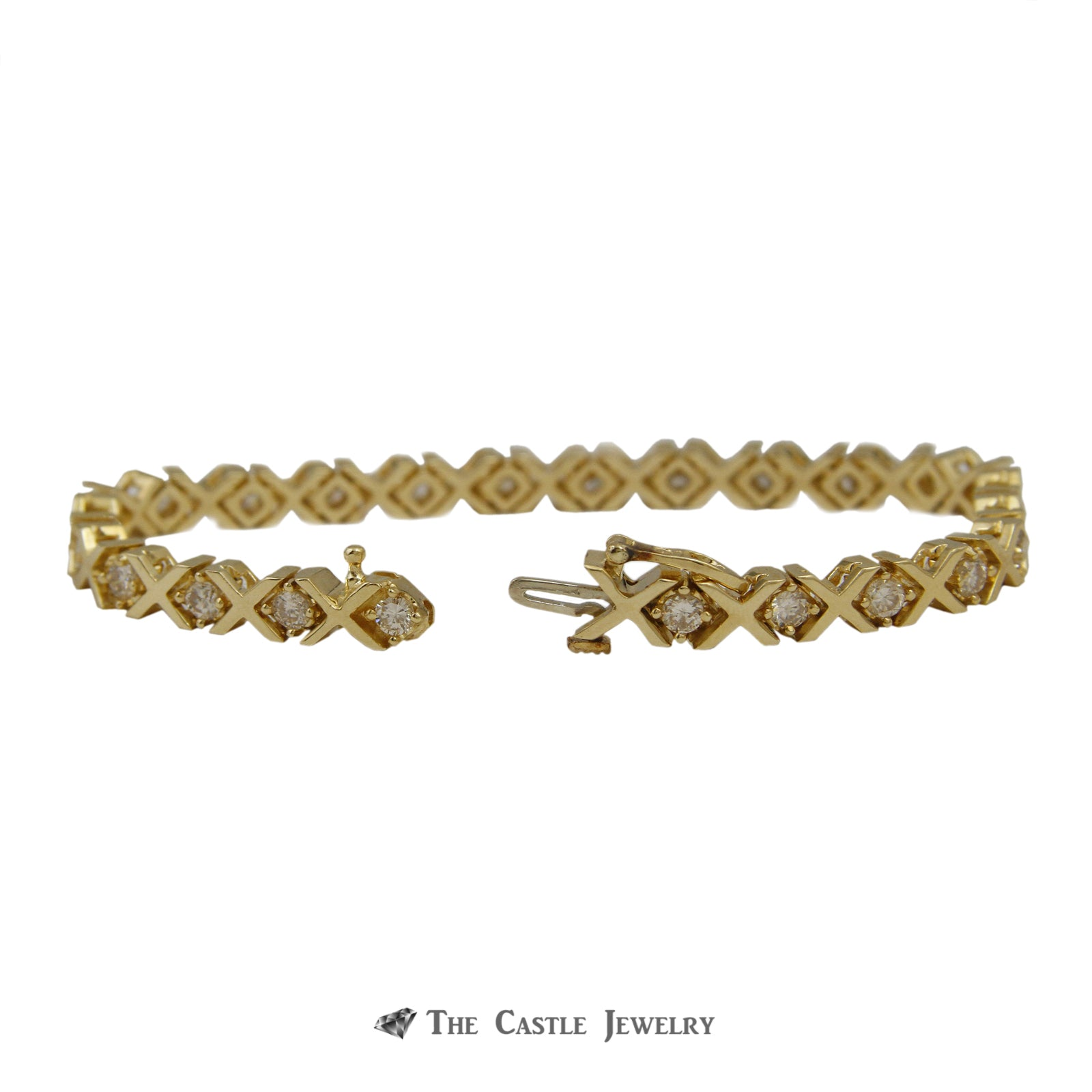 Unique X Link 2.5cttw Diamond Tennis Bracelet in 14K Yellow Gold-1
