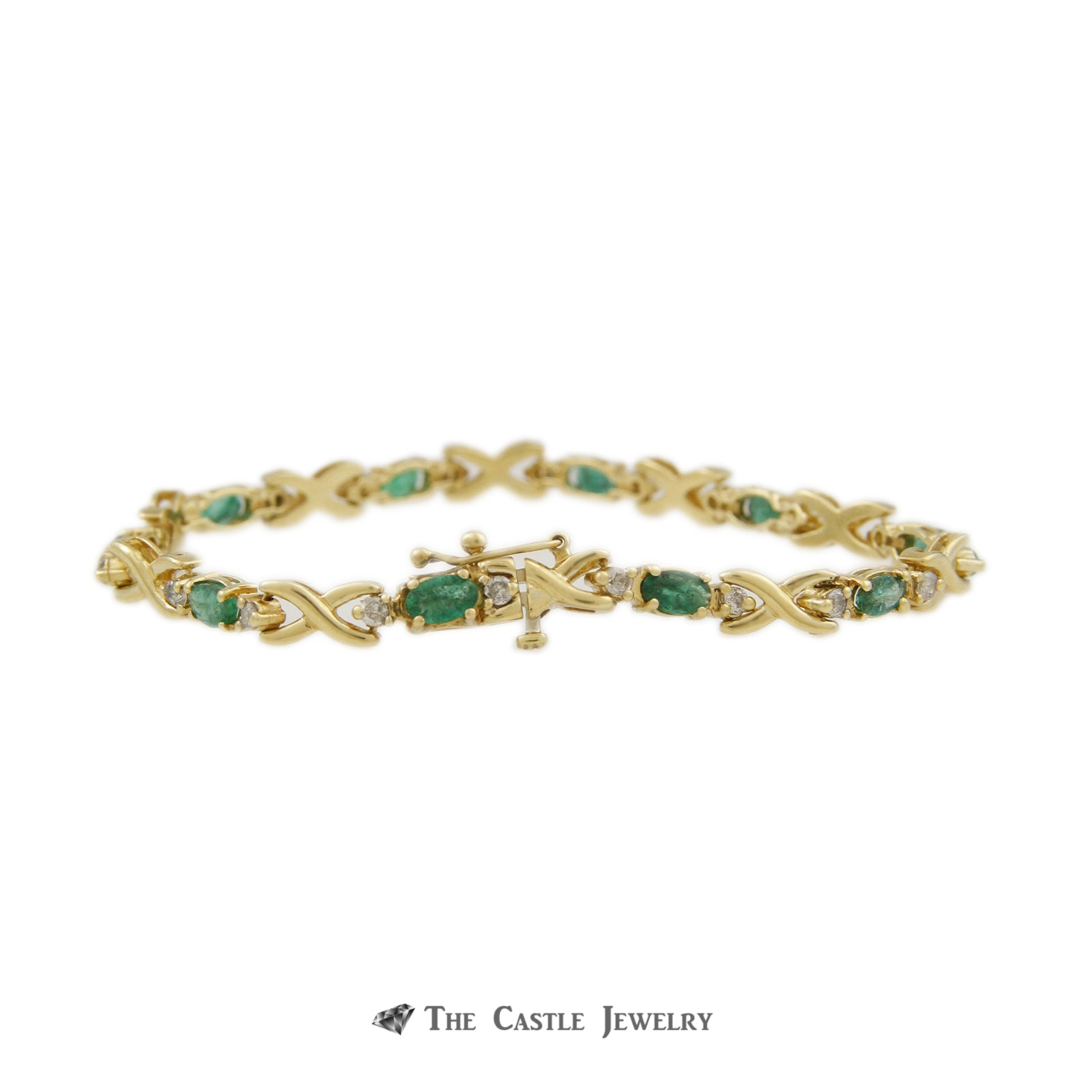 Oval Emerald Bracelet with X Links & Diamond Accents in 14K Yellow Gold-2
