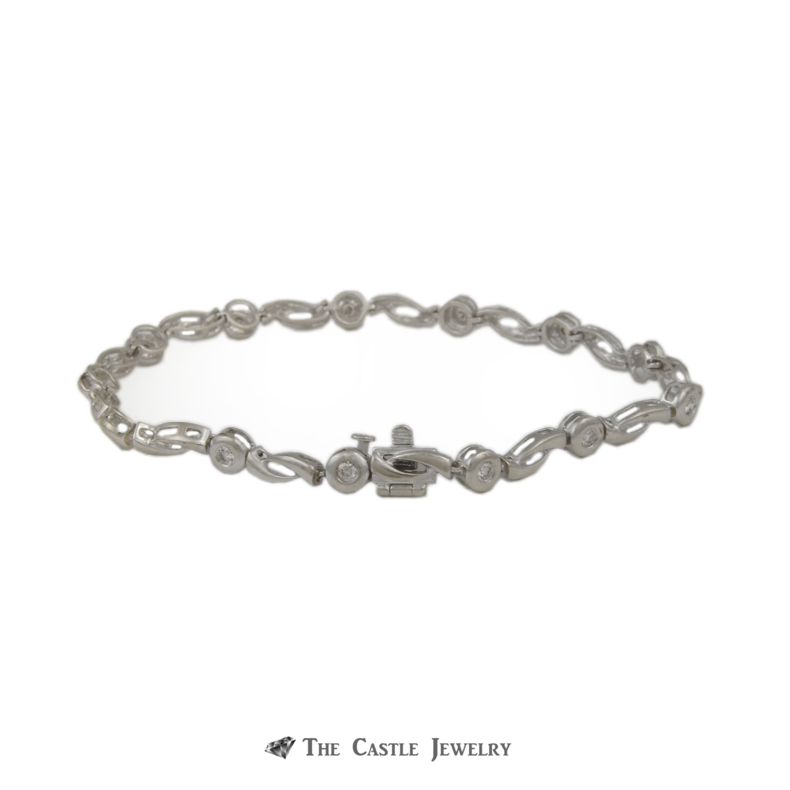 "Gabriel & Company Bezel Set .47cttw Round Diamond & Open Link 7.5"" Bracelet in 14K White Gold-2"