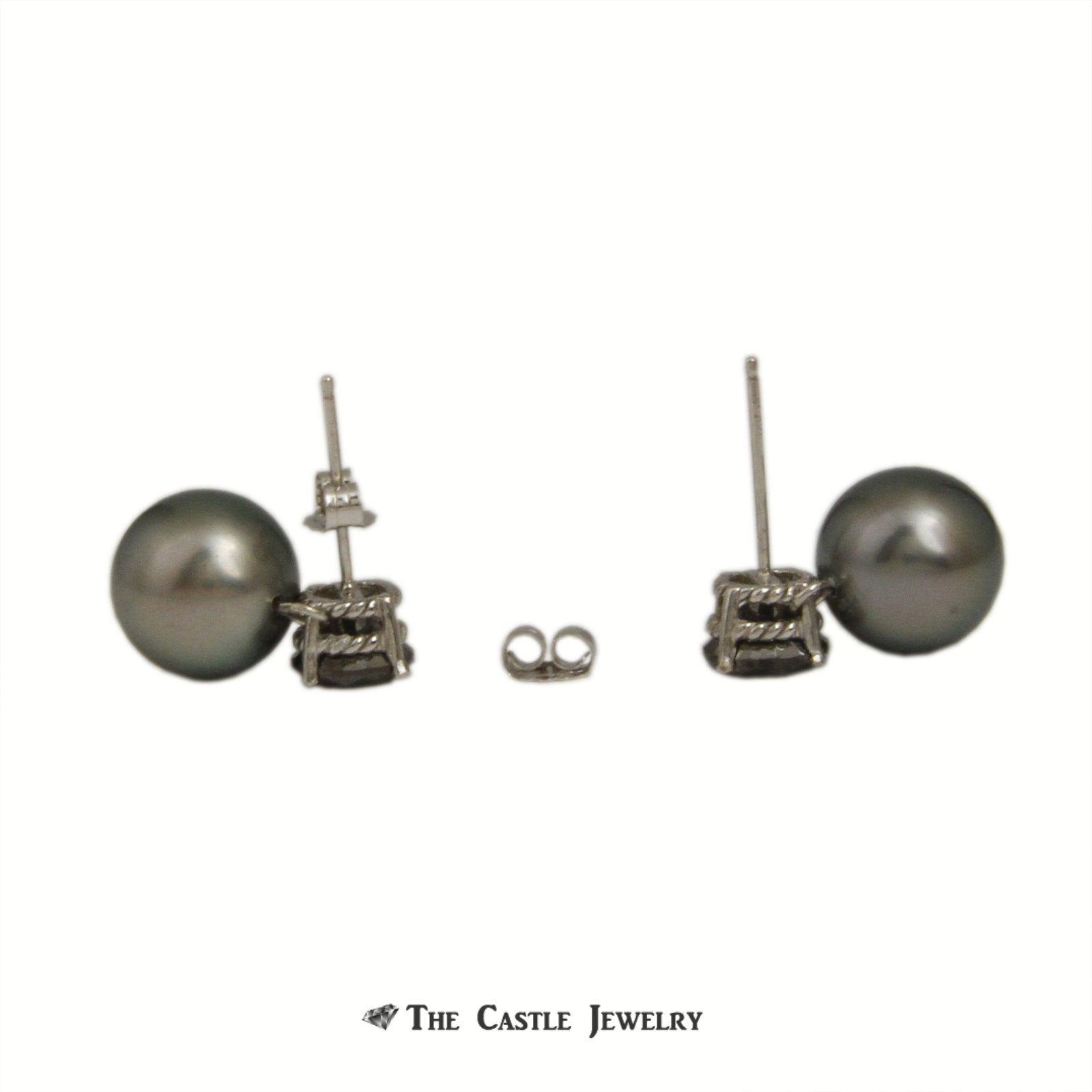 2cttw Black Diamond and Black 9.5mm Pearl Drop Earrings in 14K White Gold-1