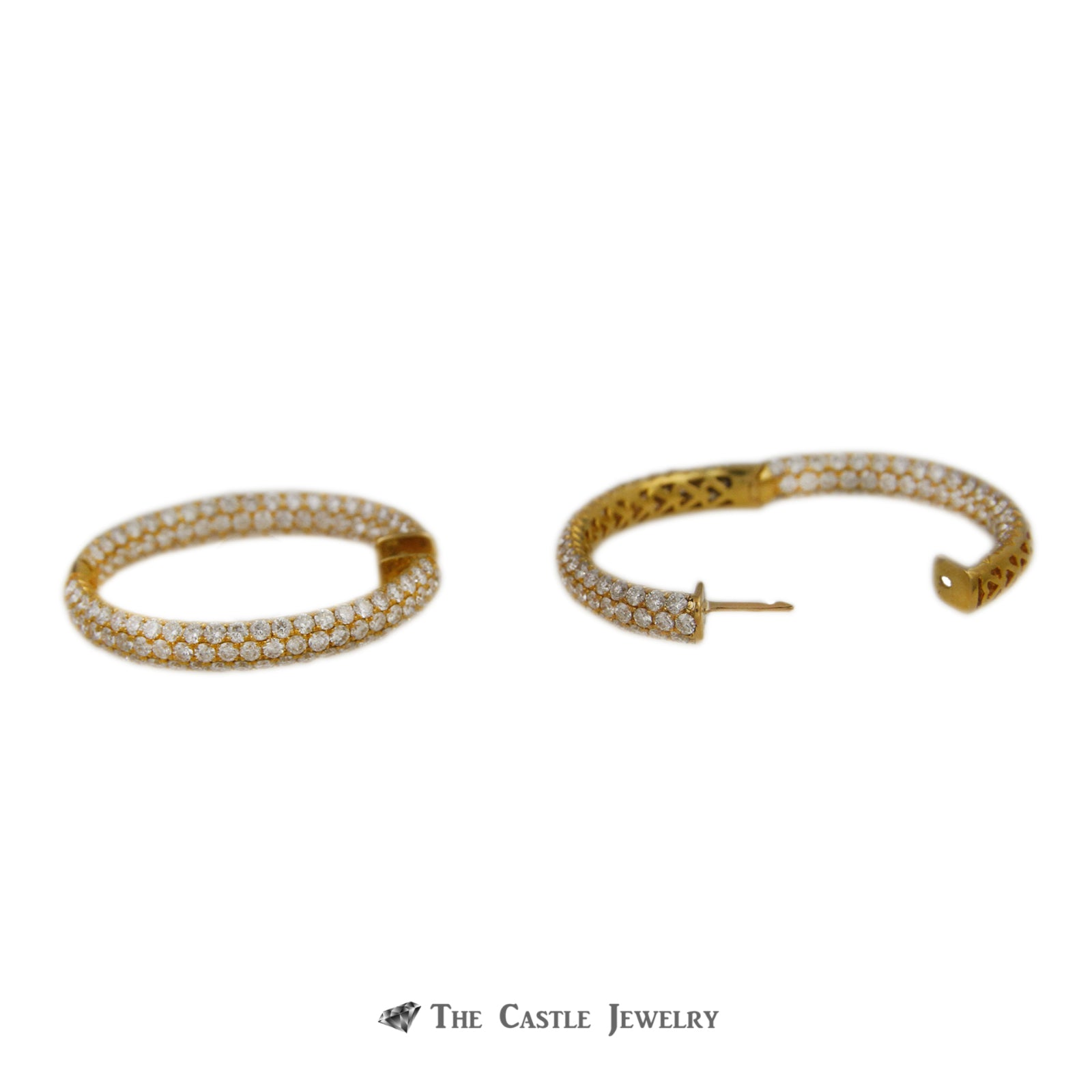 Diamond Encrusted 8cttw Hollywood Hoops 18K Yellow Gold