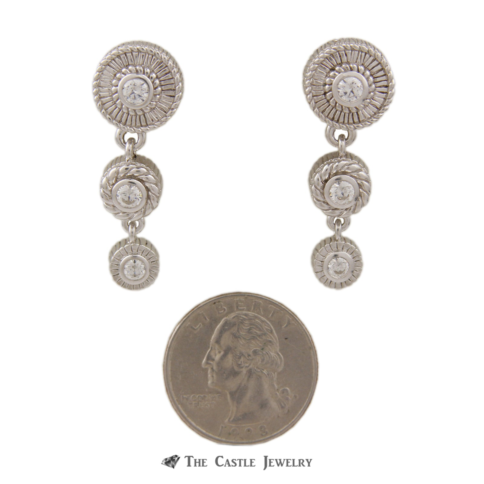 Judith Ripka Dangling 3 Round CZ Earrings in Sterling Silver-2