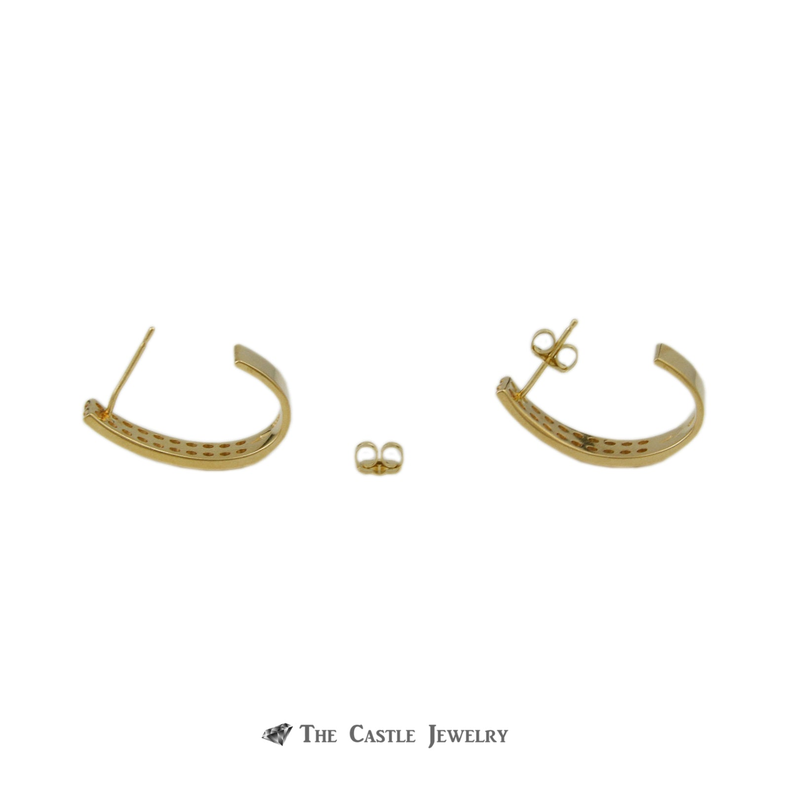 Double Row Channel Set J Hoops w/ 1cttw of Round Brilliant Cut Diamonds in 14k Yellow Gold-1