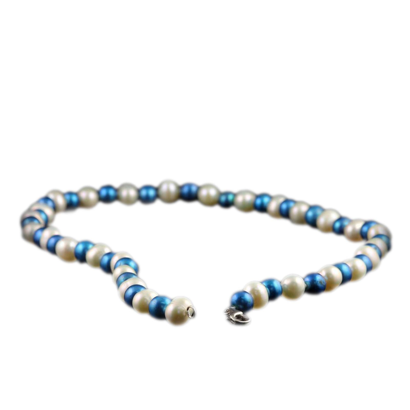 SPECIAL! Collegiate University of Kentucky Blue and White Pearl Necklace-2