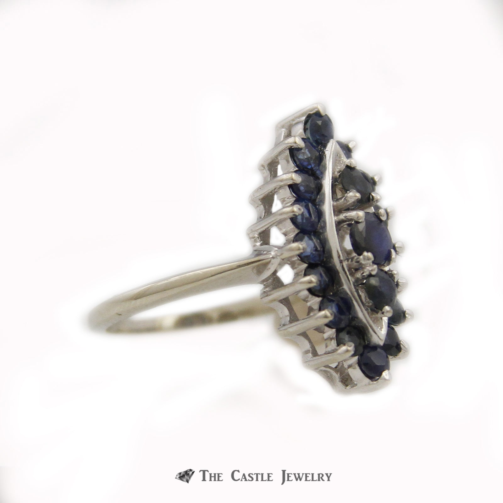 Marquise Shaped Cluster Ring w/ Round Blue Sapphire Gemstones Crafted in 14k White Gold-2