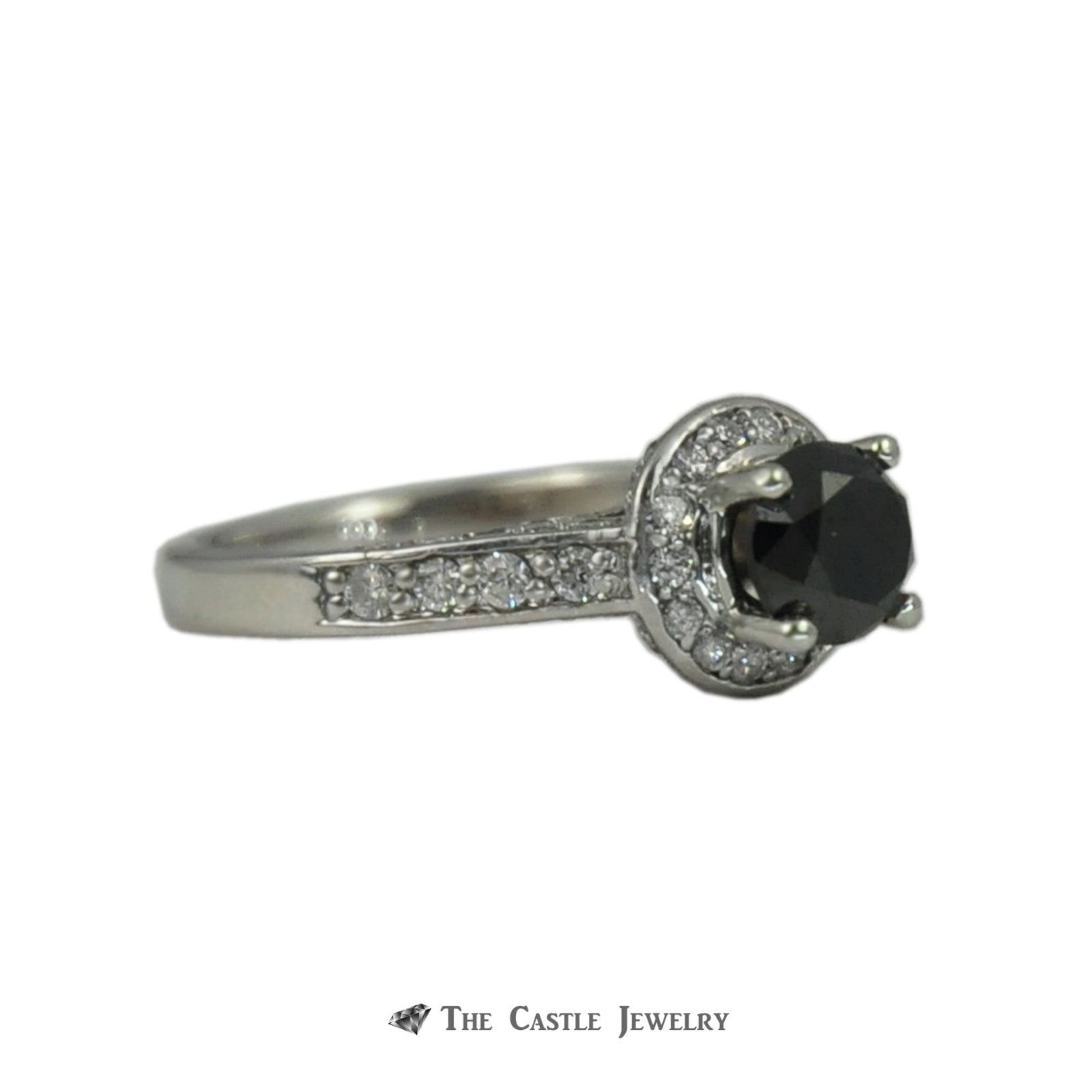 Black Diamond Engagement Ring w. Round Brilliant Diamond Halo, Sides, & Mounting-2