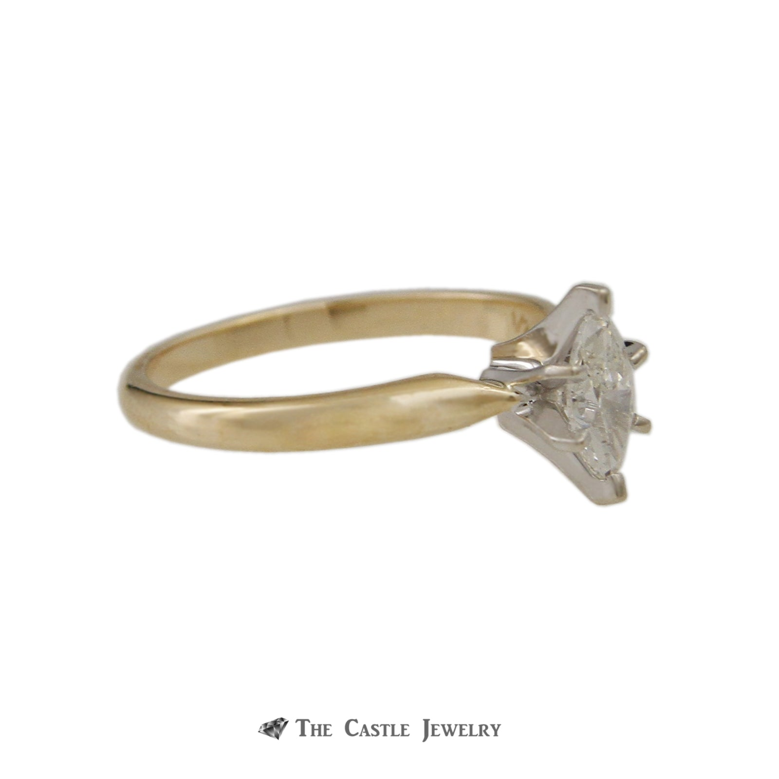 Marquise .50ct Diamond Solitaire Engagement Ring in 6 Prong Mounting in 14K Yellow Gold