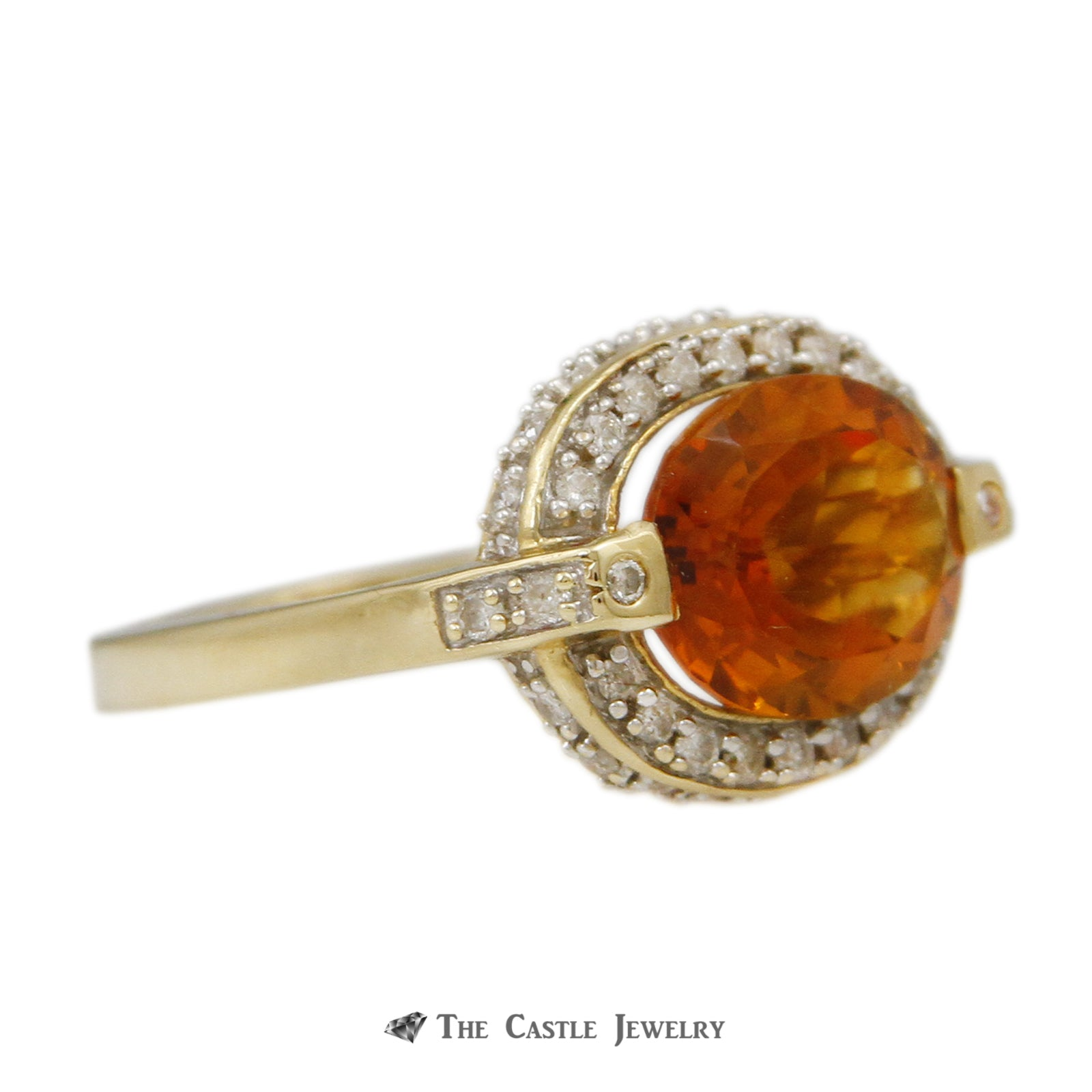 Oval Citrine Ring w/ 1/2cttw Diamond Bezel & Cathedral Mounting in 14k Yellow Gold-2