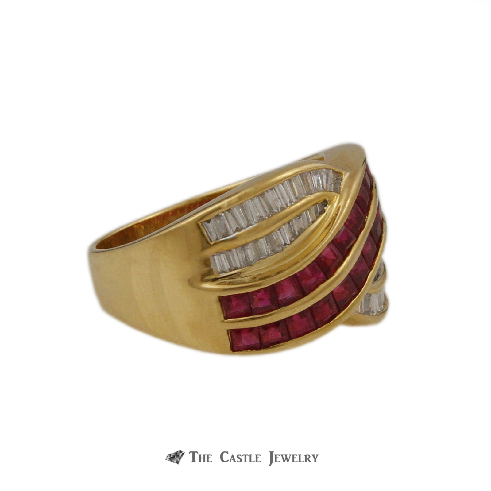 Le Vian Square 1.75cttw Ruby & .50cttw Baguette Diamond Cross Over Style Ring in 18k Yellow Gold-2