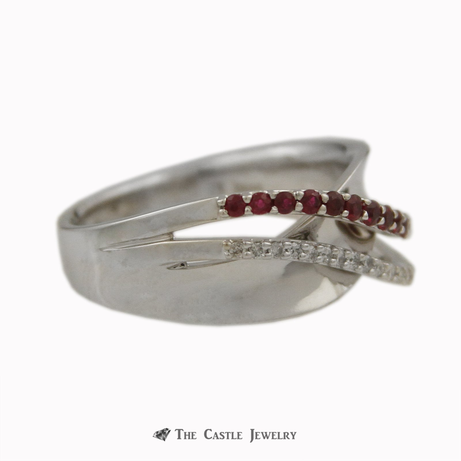 Round Ruby & Diamond Open Cross Over Design Ring w/ .10cttw Round Diamonds in White Gold-2