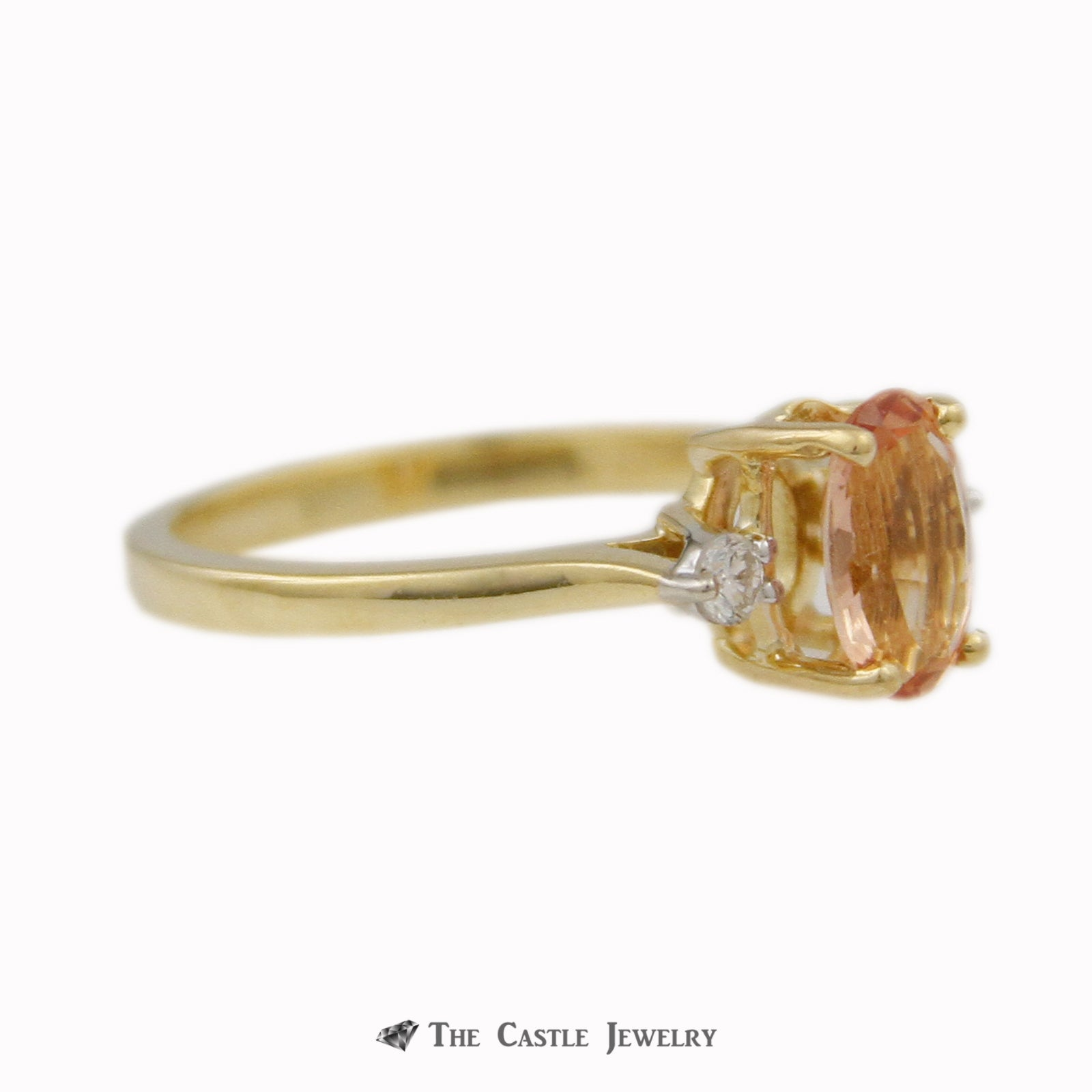 Oval Tropical Topaz Ring w/ Round Brilliant Cut Diamond Accent Sides in 18k Yellow Gold