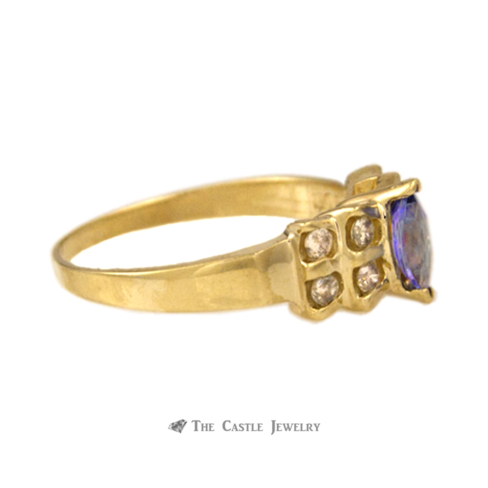 Marquise Tanzanite Ring in Bow Design Diamond Mounting 14K Gold
