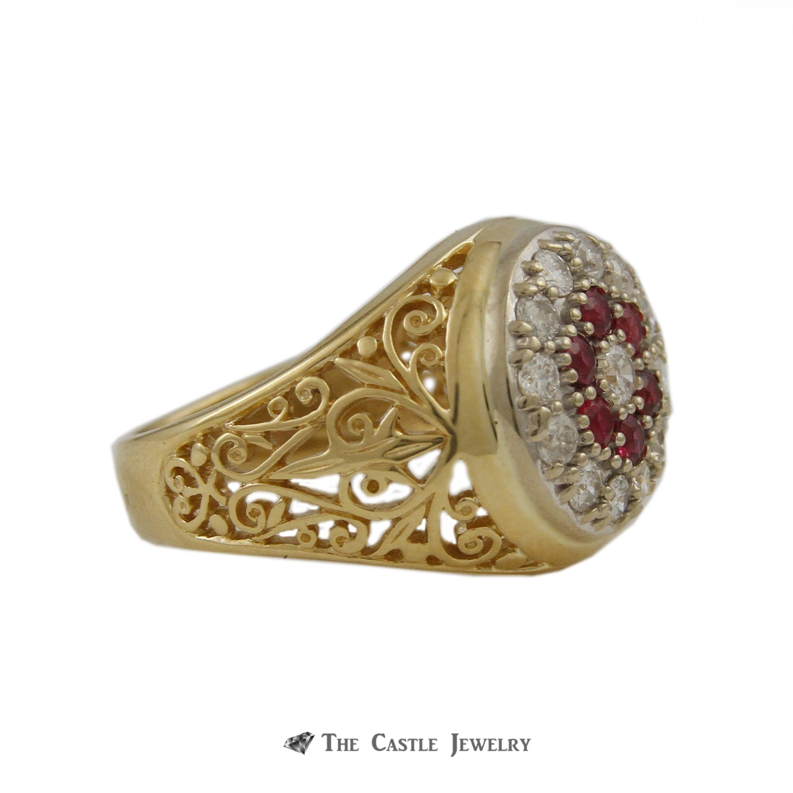 Gent's Round Ruby & .75cttw Diamond Kentucky Cluster Ring w/ Scroll Design Sides-2
