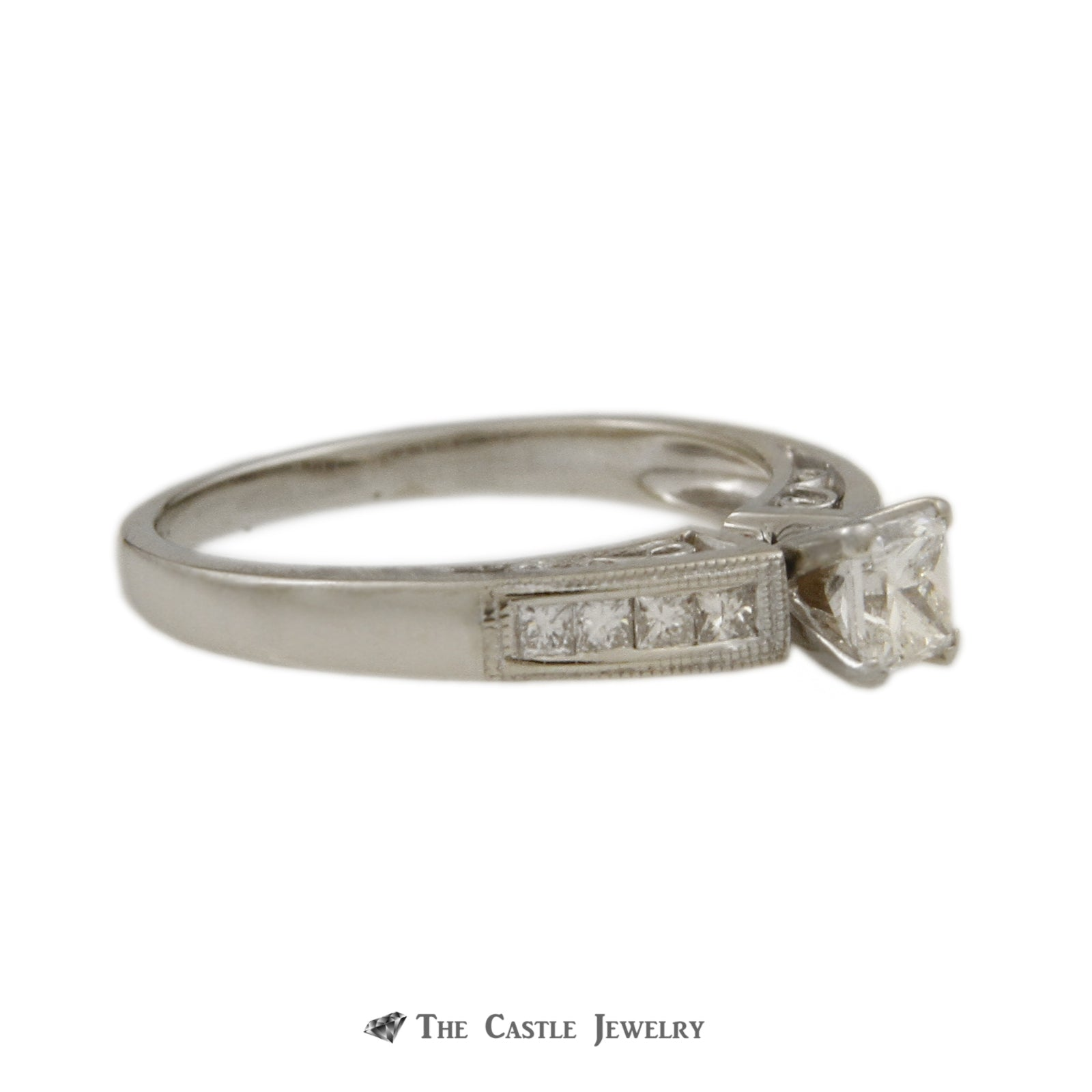 Princess Cut 1/3ct Diamond Engagement Ring with Princess Sides & Beaded Edges-2