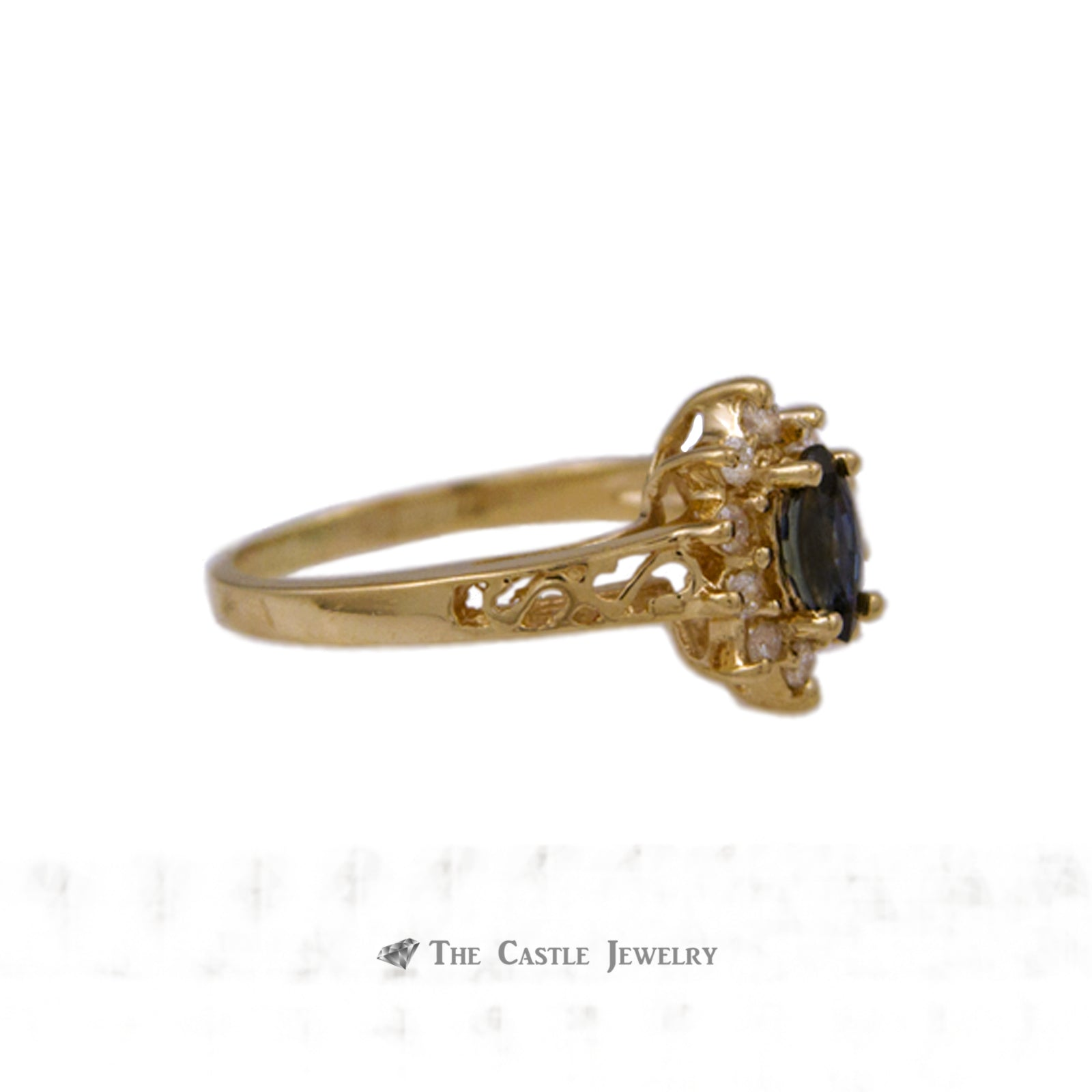 Marquise Sapphire Ring with Diamond Halo & Scroll Mounting in 14K Yellow Gold-2