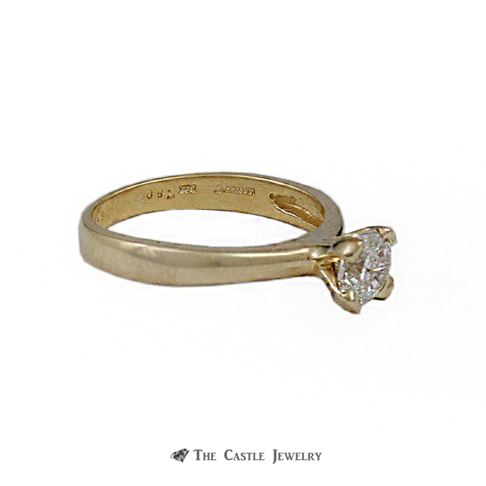 Unique Flanders Cut Diamond Solitaire Engagement Ring .80ct SI2-H in Gold-2