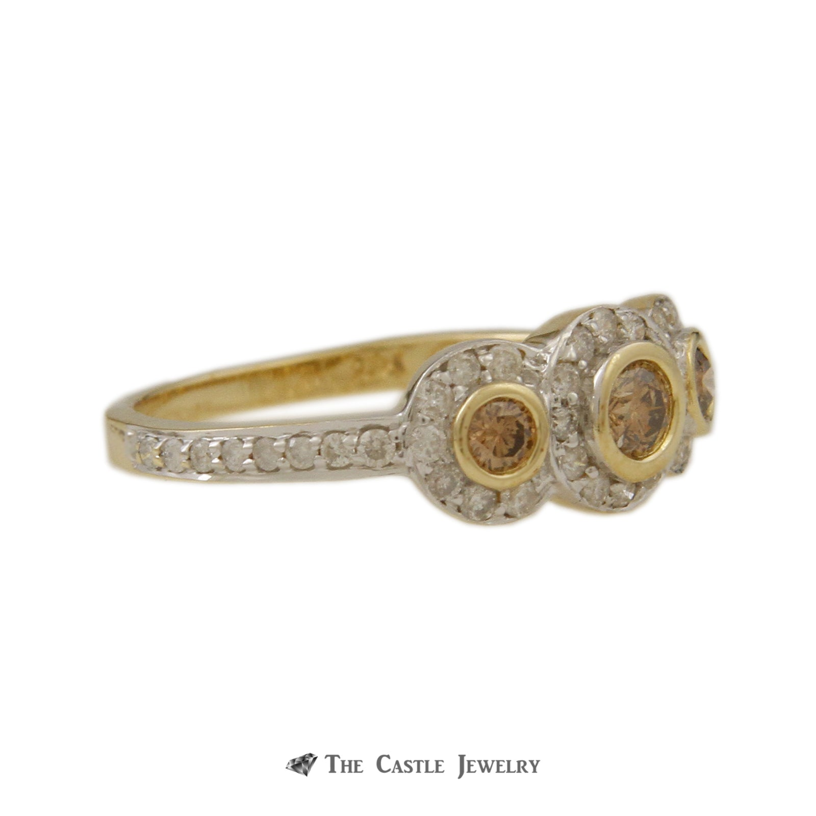 Bezel Set Champagne Diamond 3 Stone Ring with White Diamond Halos & Mounting in Yellow Gold-2