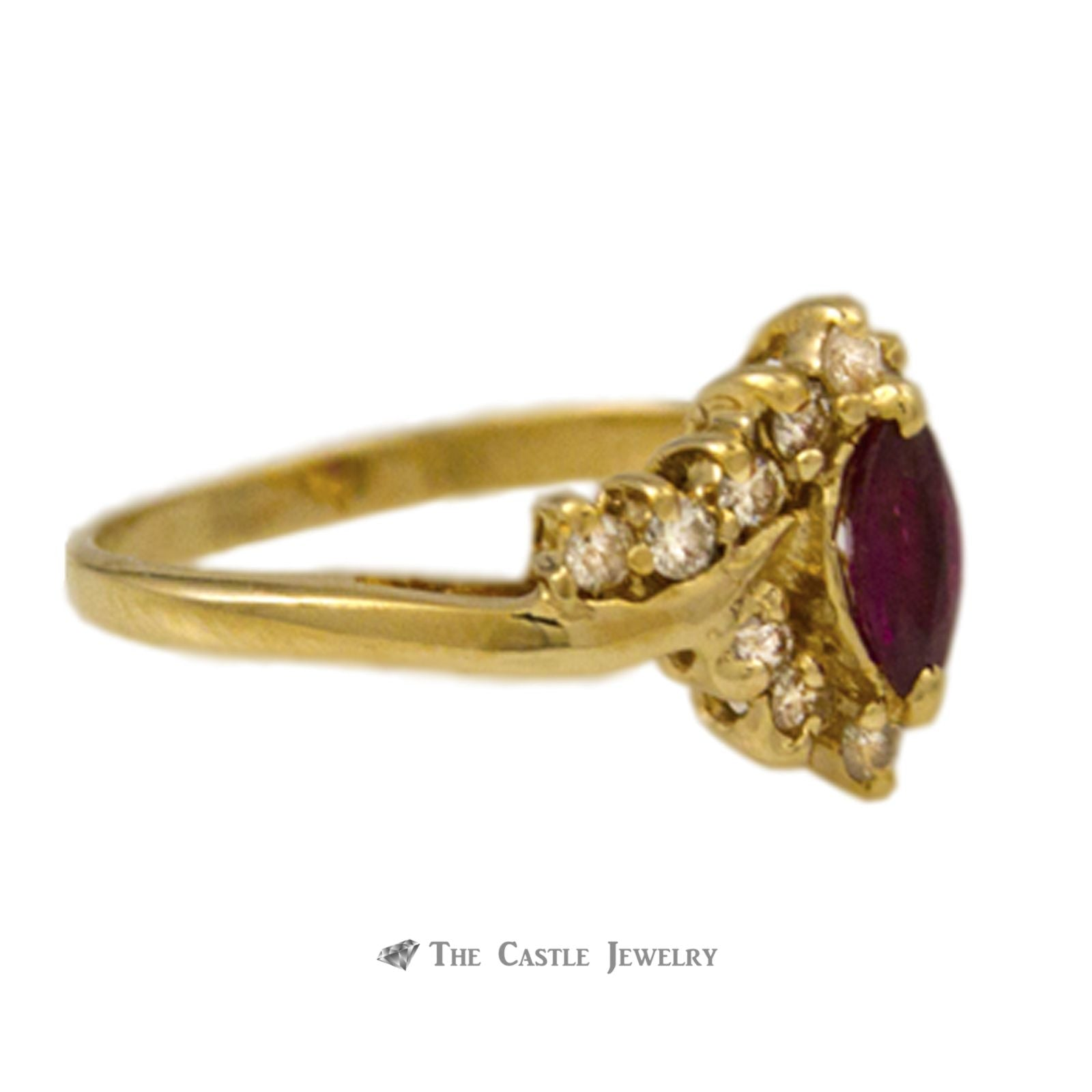 Marquise Ruby Ring 1/4ct tw Round Diamond Accents in 14K Gold-2