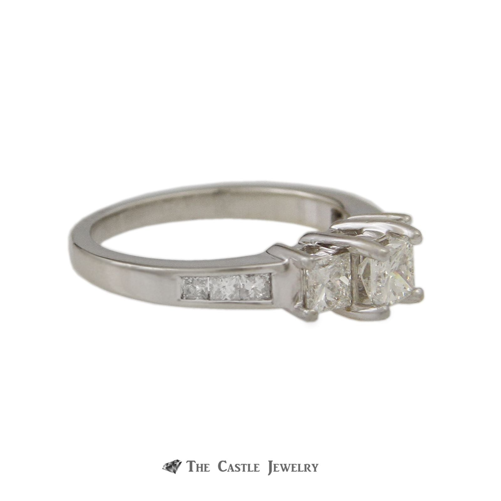 DeBeers Style Ring with 1cttw Princess Cut Channel Set Diamonds-2