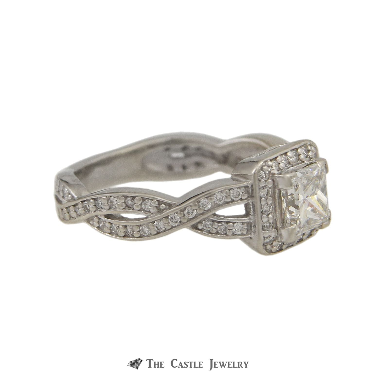 Princess Cut .76ct Diamond SI2/F Engagement Ring w/ Diamond Bezel & Twist Sides