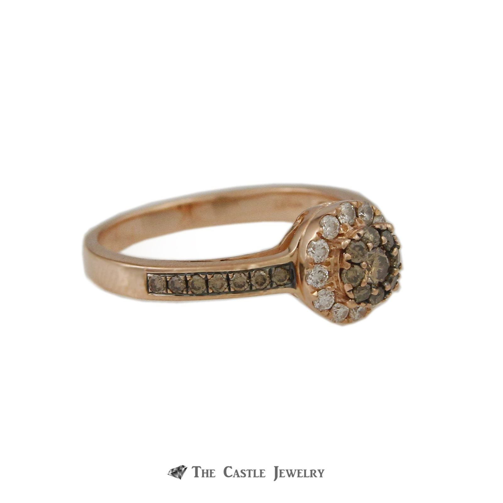 Le Vian Round Chocolate Diamond Ring w/ Round Brilliant Cut White Diamond Halo in 14k Rose Gold-2