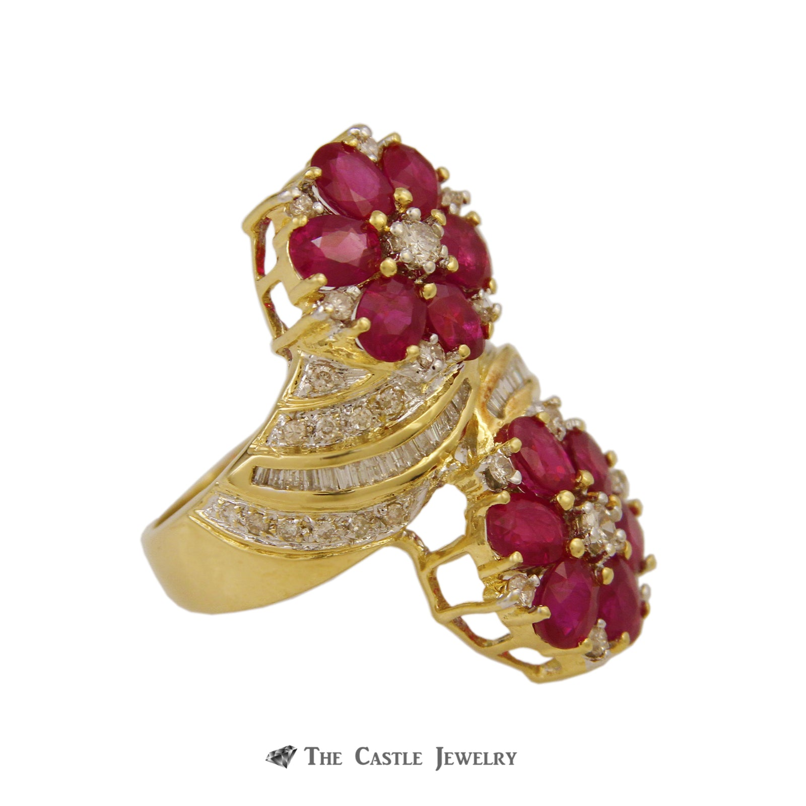 Antique Double Ruby Cluster Flower Ring Diamond Accents 18K Yellow Gold-2