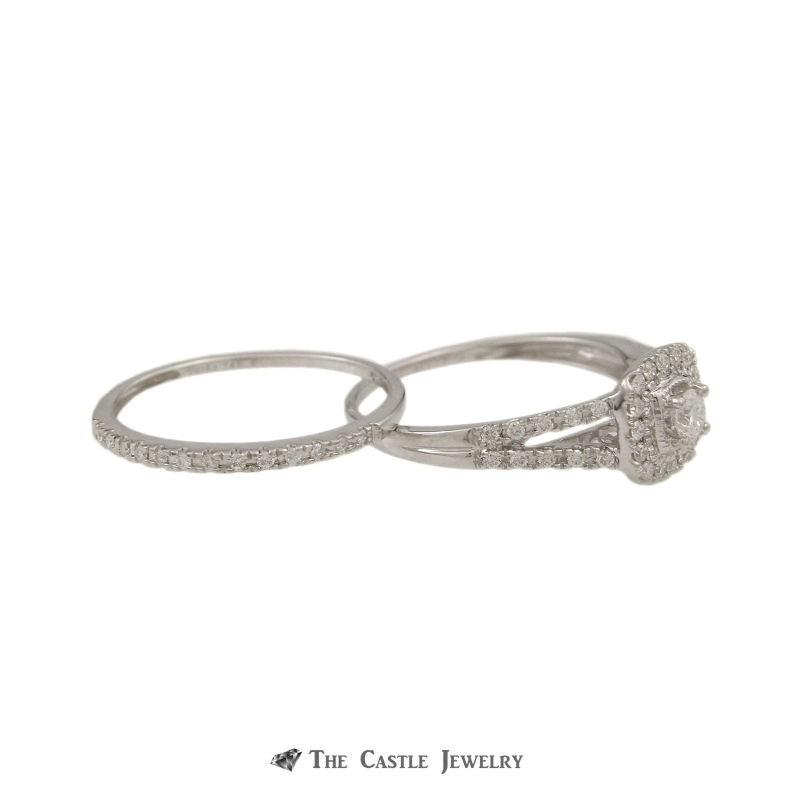 Crown Collection 1/2cttw Bridal Set with Round Diamond Center & Cushion Shaped Bezel in 14k-3