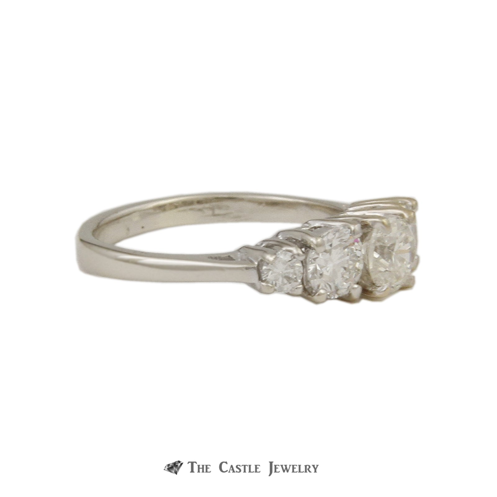 Graduated 1cttw Diamond Band with 5 Round Brilliant Cut Diamonds Crafted in 14K White Gold-2