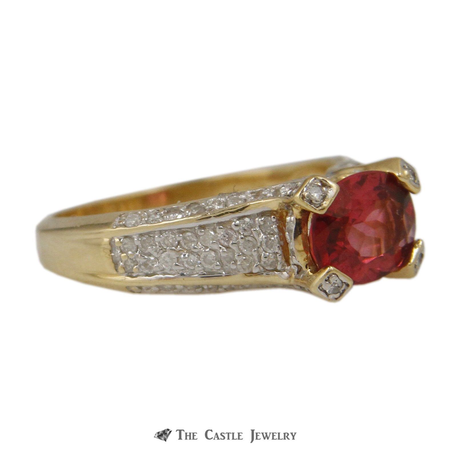 Side Set Oval Pink Tourmaline with Round Pave Diamond Sides & Prongs in 14K Yellow Gold-2