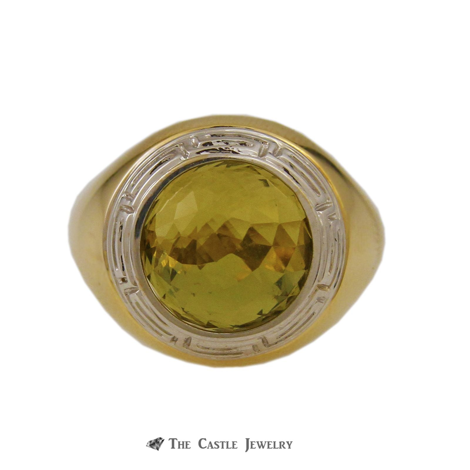 Interchangeable Fantasy Cut Gemstone Sphere Ring w/ Greek Key Design Crafted in 18k Yellow Gold-1