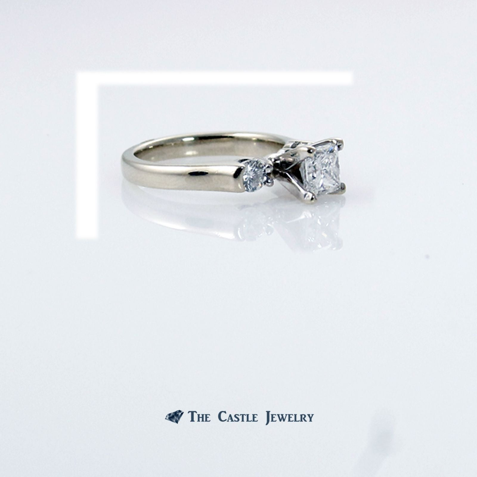 Princess Cut Diamond Engagement Ring with Round Accents in 14K White Gold-2