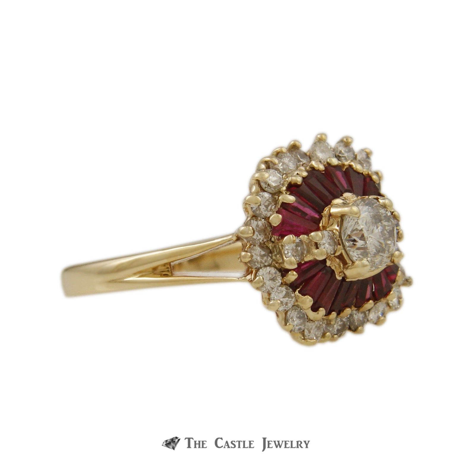 Ruby & Diamond Ballerina Ring with .50ct Round Center & Baguette Ruby Halo in 14K Yellow Gold-2