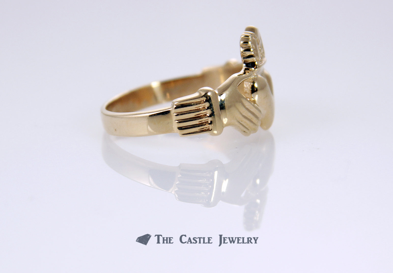 Irish Wedding Band Claddagh Ring in 14K Gold-2