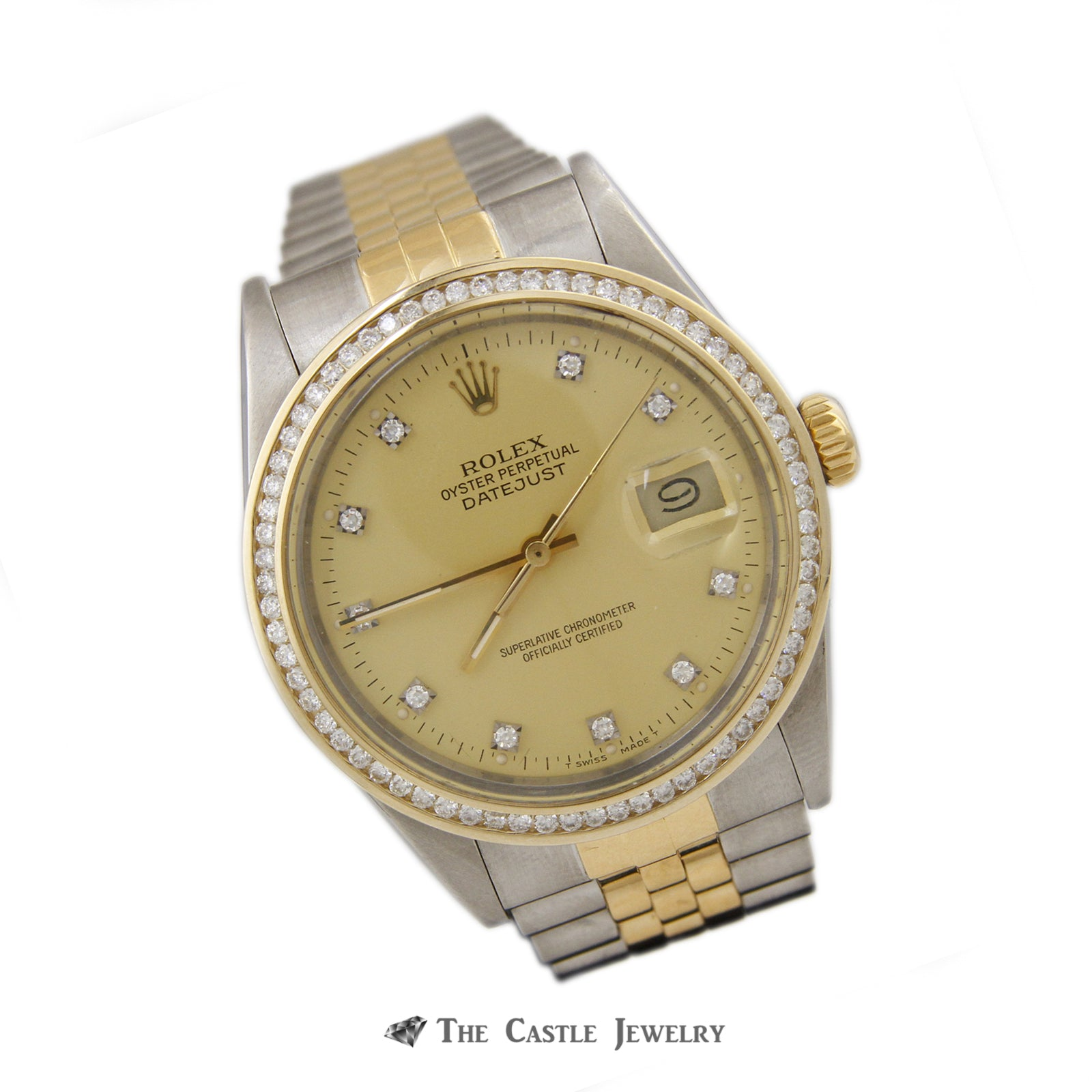 Rolex Datejust 36mm 18k/ Stainless Steel w/ Diamond Dial and Bezel 16013