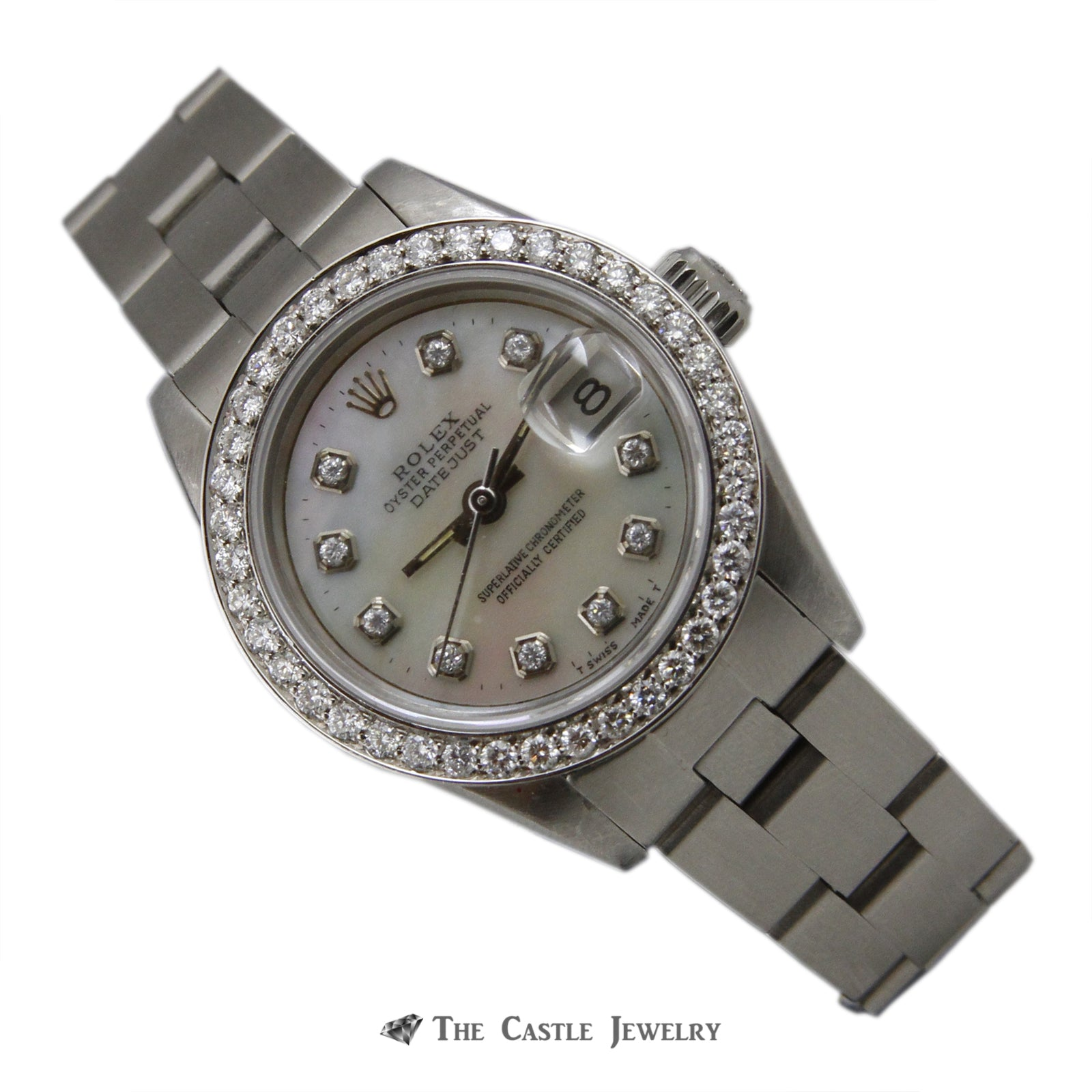 Rolex Datejust 26mm Watch Stainless Steel w/ Mother of Pearl Diamond Dial & Bezel 69160-6