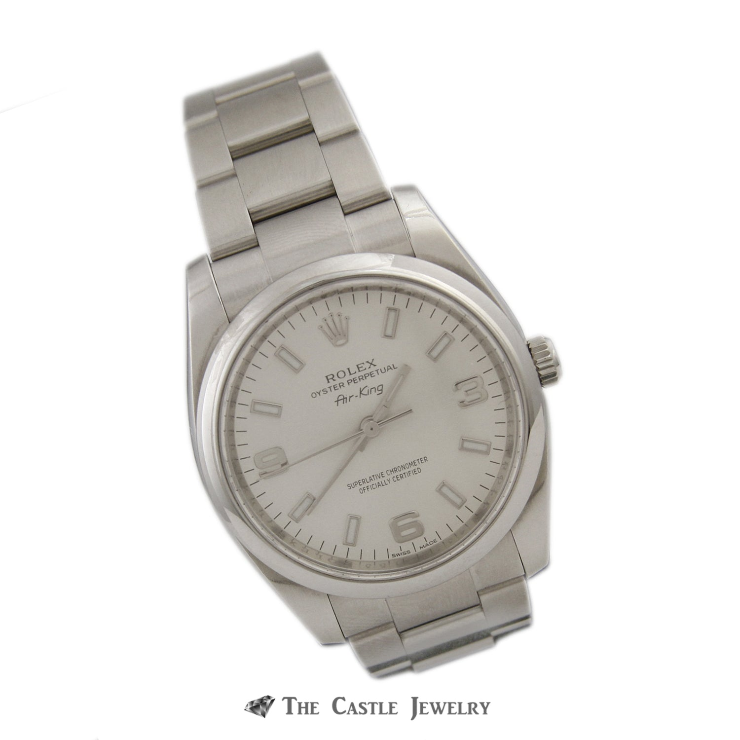 Rolex Air King 34mm Watch All Stainless w/ Silver Arabic Dial and Polished Bezel 114200-2