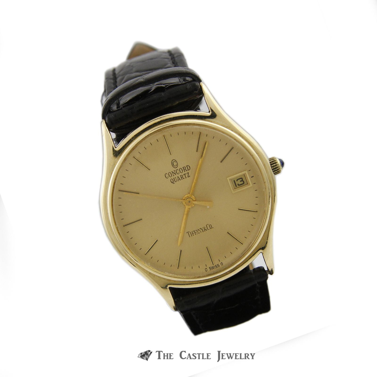 "Tiffany & Co. ""Concord"" Quartz Watch w/ Black Leather Band w/ 14k Yellow Cold Case & Buckle-2"