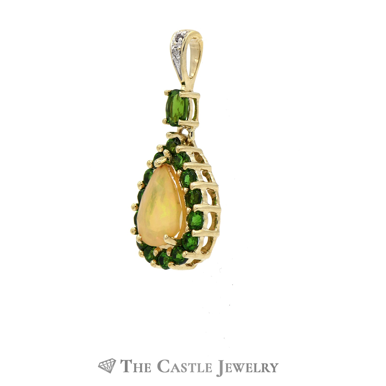 Tsavorite Garnet Opal & Diamond Pendant 10K Yellow Gold-1