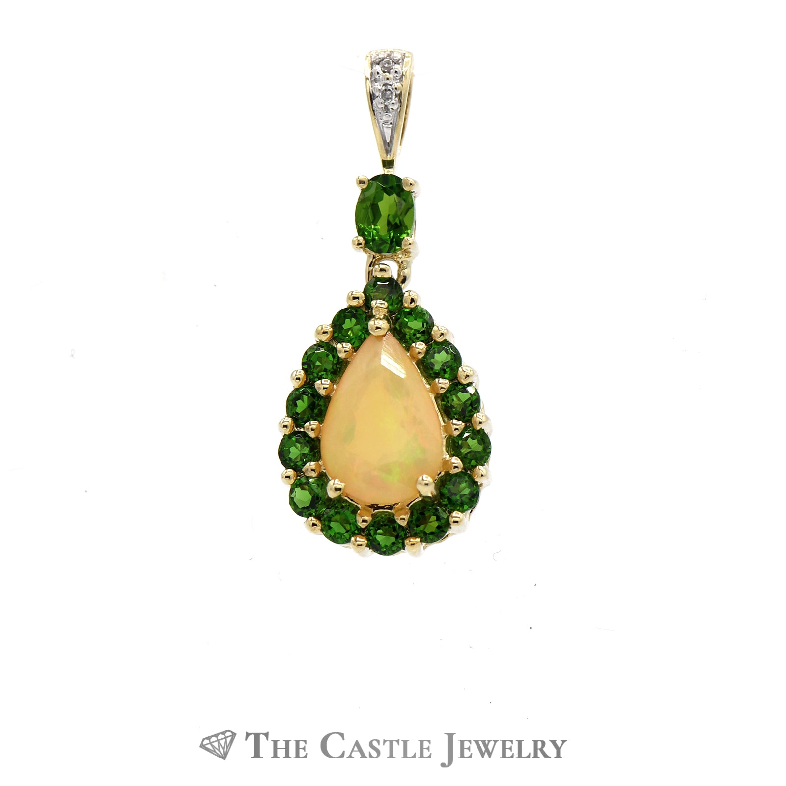 Tsavorite Garnet Opal & Diamond Pendant 10K Yellow Gold