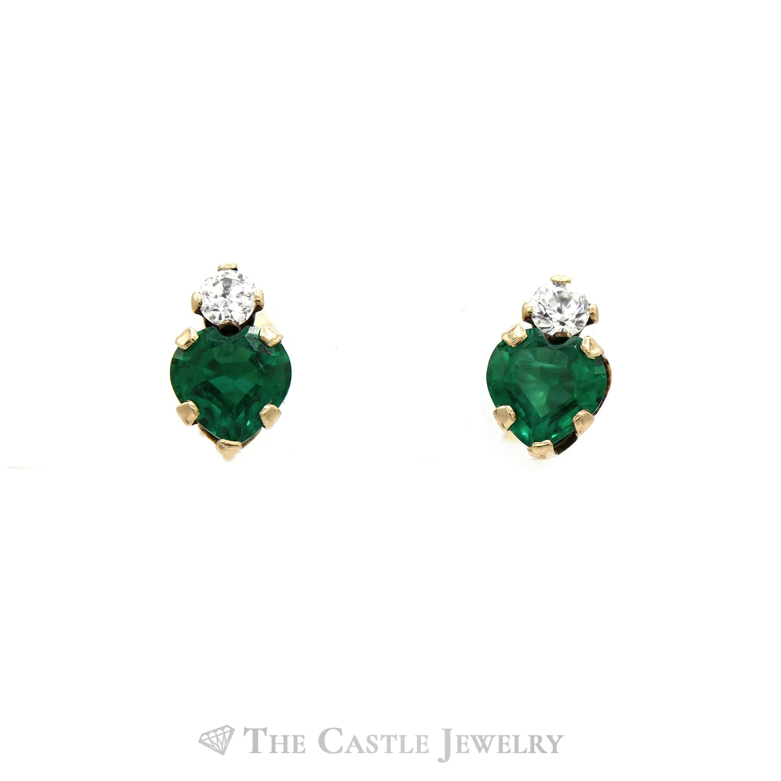 Heart Shape Synthetic Emerald and CZ Earrings in 10KT Yellow Gold