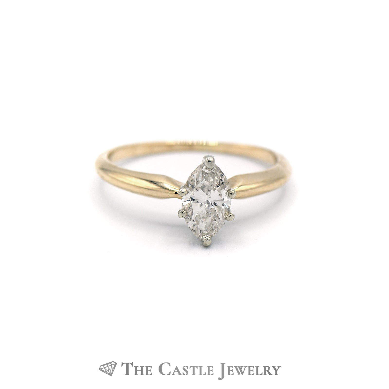 Marquise Solitaire 1/2 carat Diamond Ring in 14KT Yellow Gold