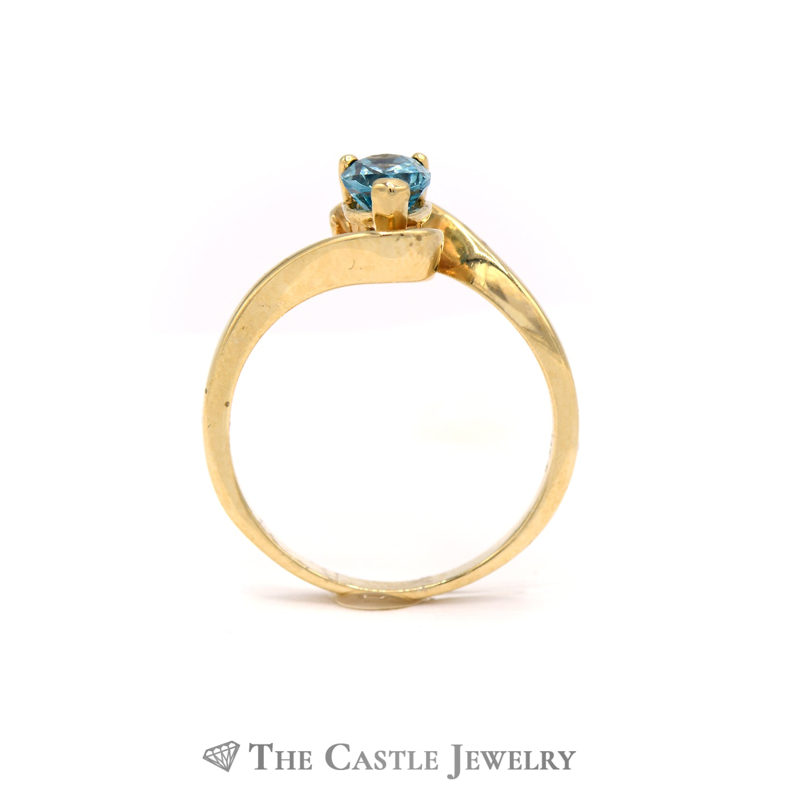 Pear Shape Blue Topaz Ring in Bypass Designed Mount-1