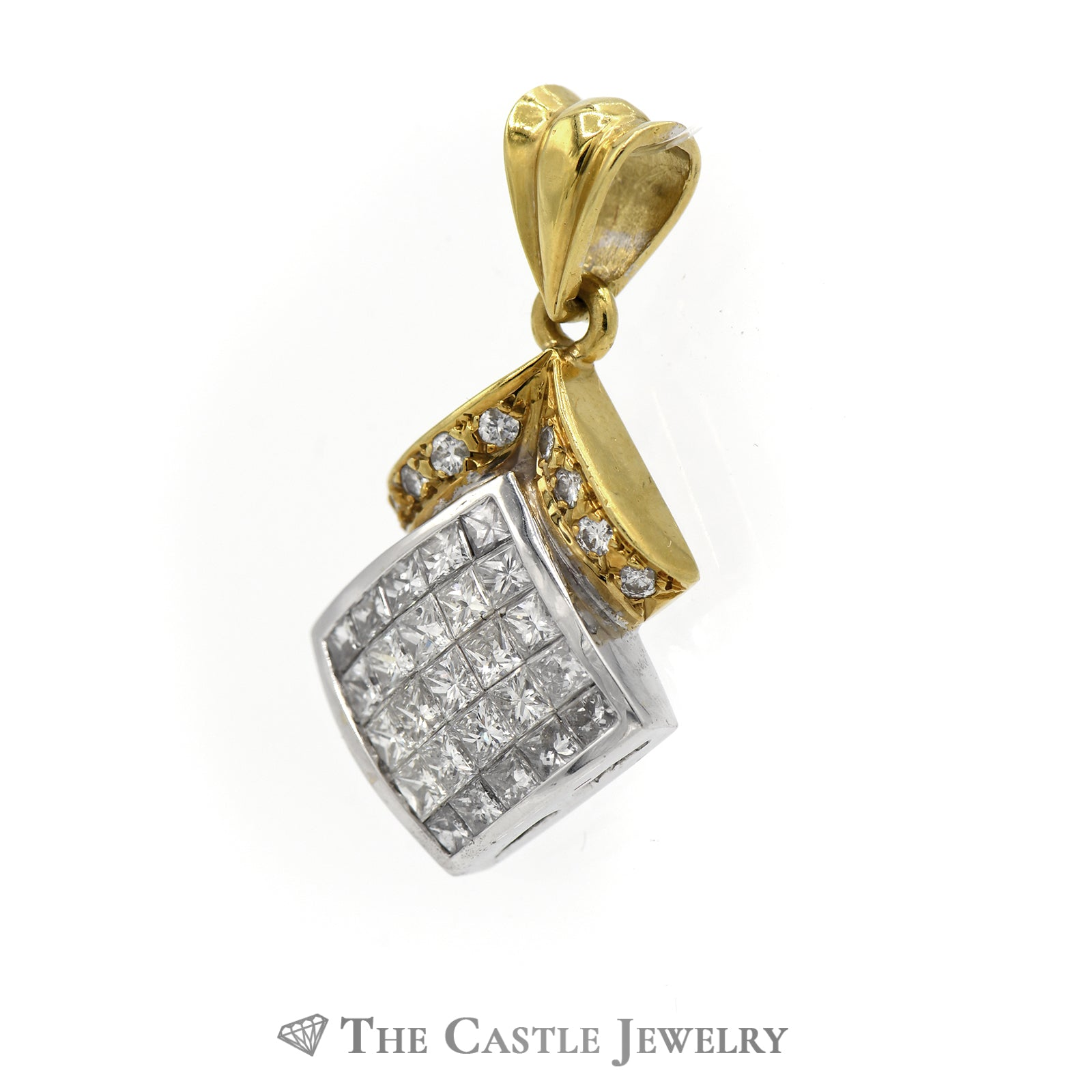 Princess And Round Cut Diamond Pendant 2cttw In 18K Yellow Gold-1