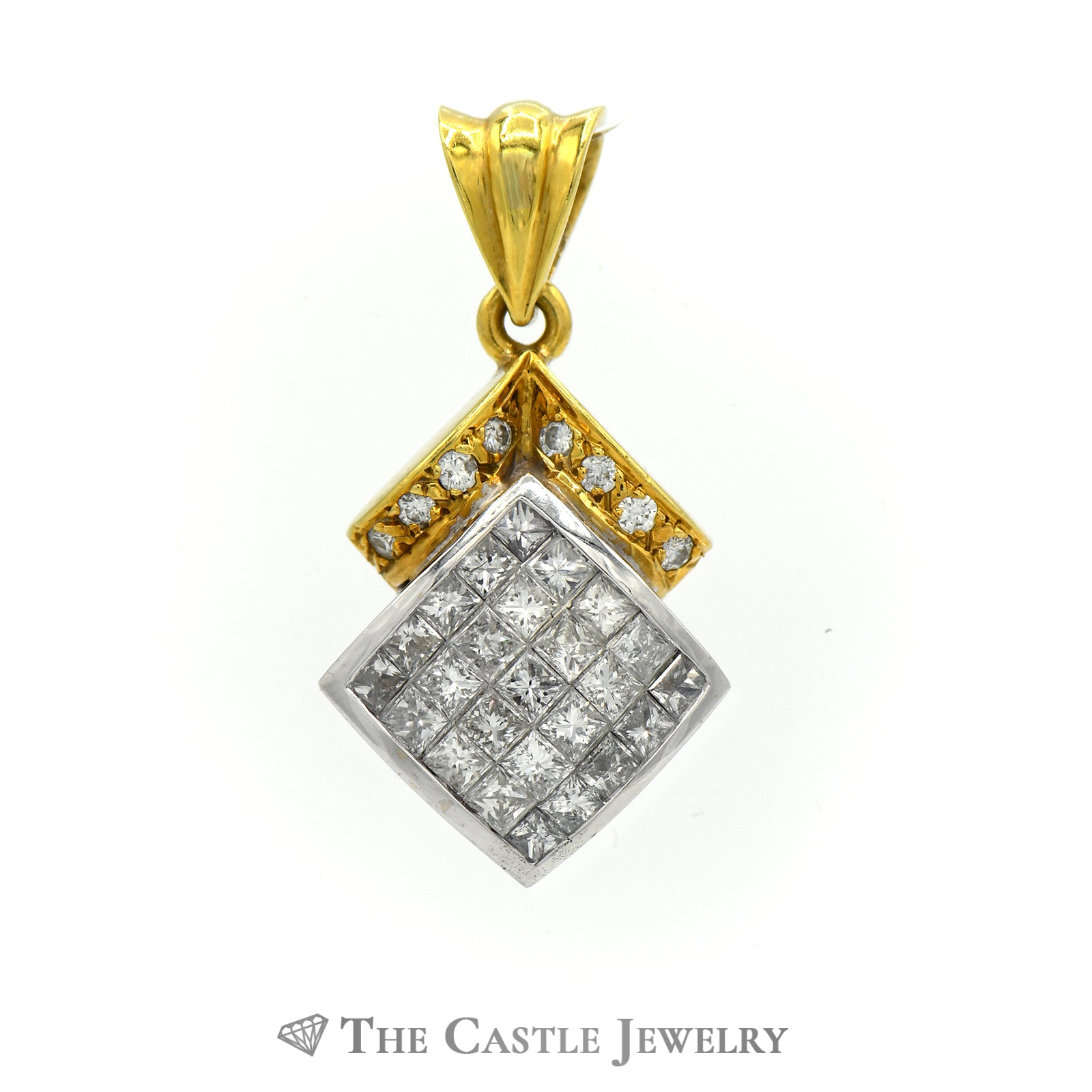 Princess And Round Cut Diamond Pendant 2cttw In 18K Yellow Gold