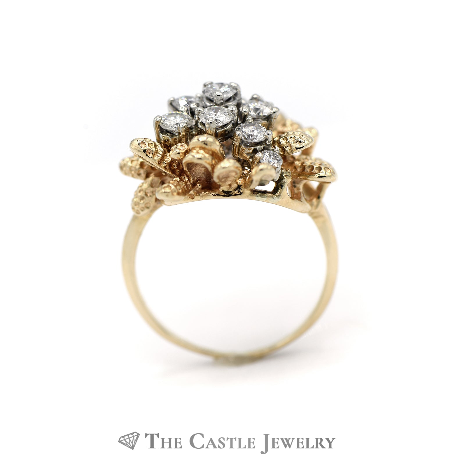 Coral Reef Diamond Cluster Ring in 14KT Yellow Gold-1